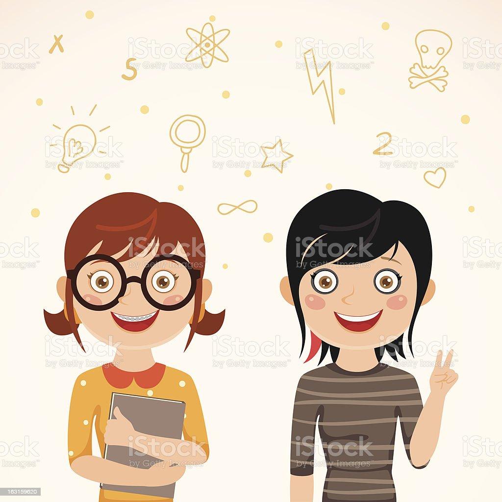 Cute twins nerd and rocker royalty-free stock vector art