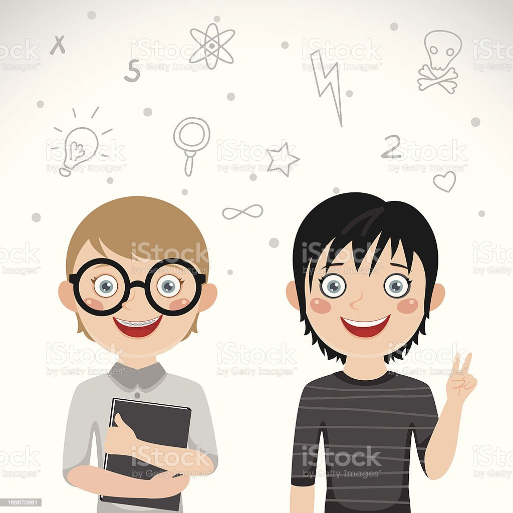 Cute twins nerd and rocker royalty-free stock vector art