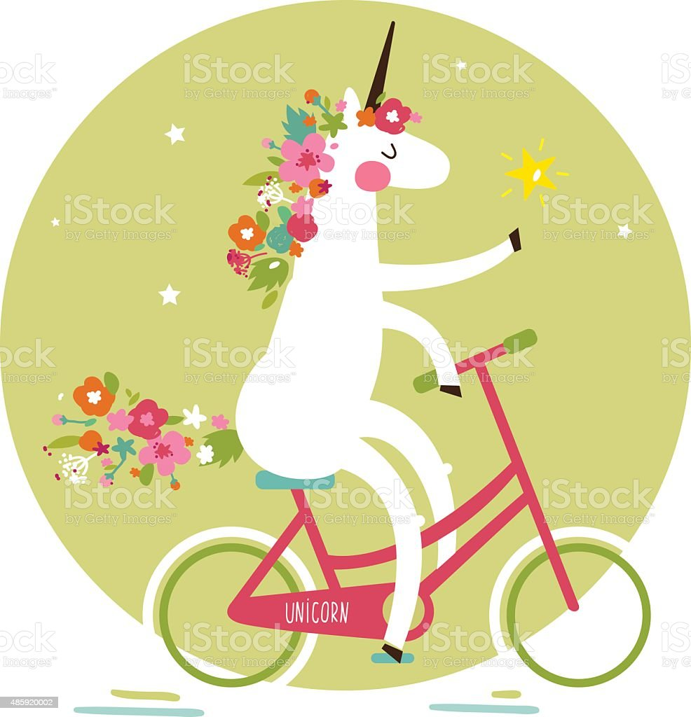 Cute unicorn on a bicycle with a mane of flowers vector art illustration