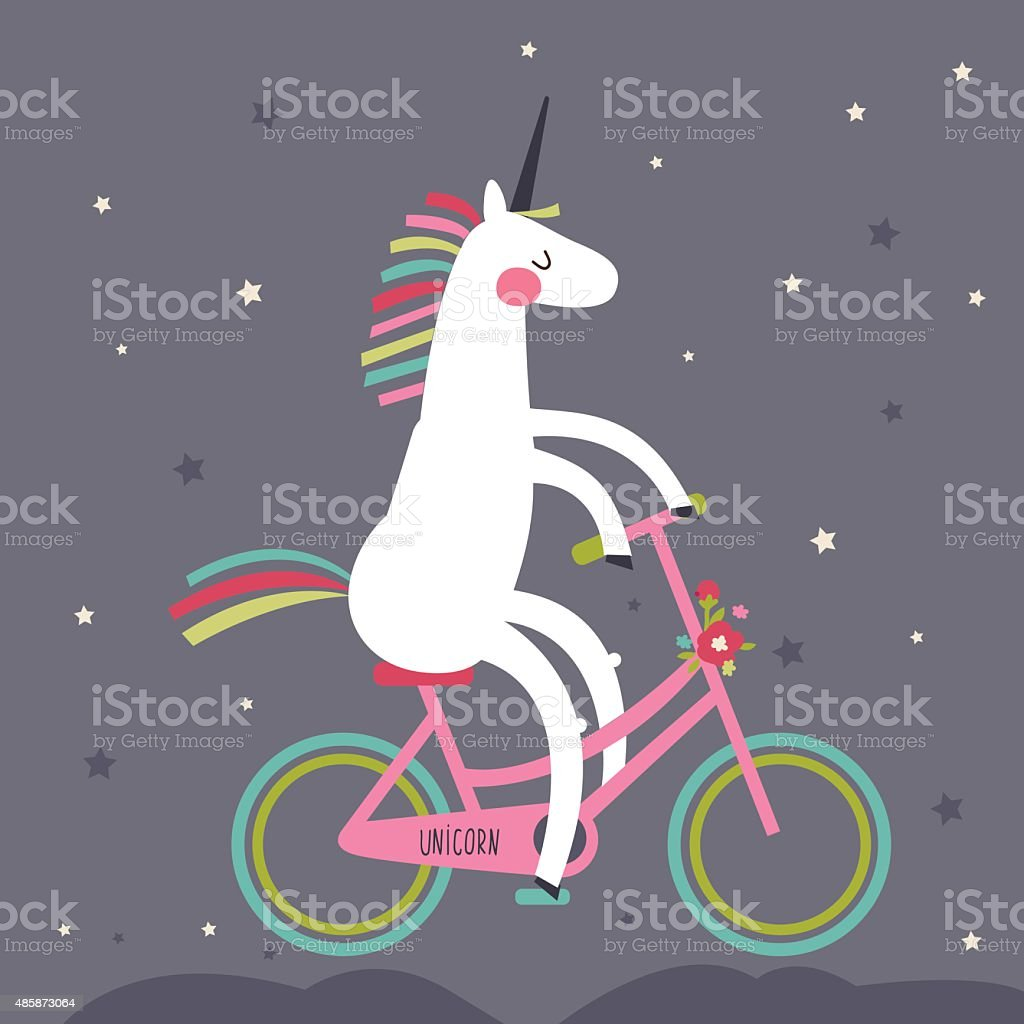 Cute unicorn on a bicycle with a rainbow mane vector art illustration