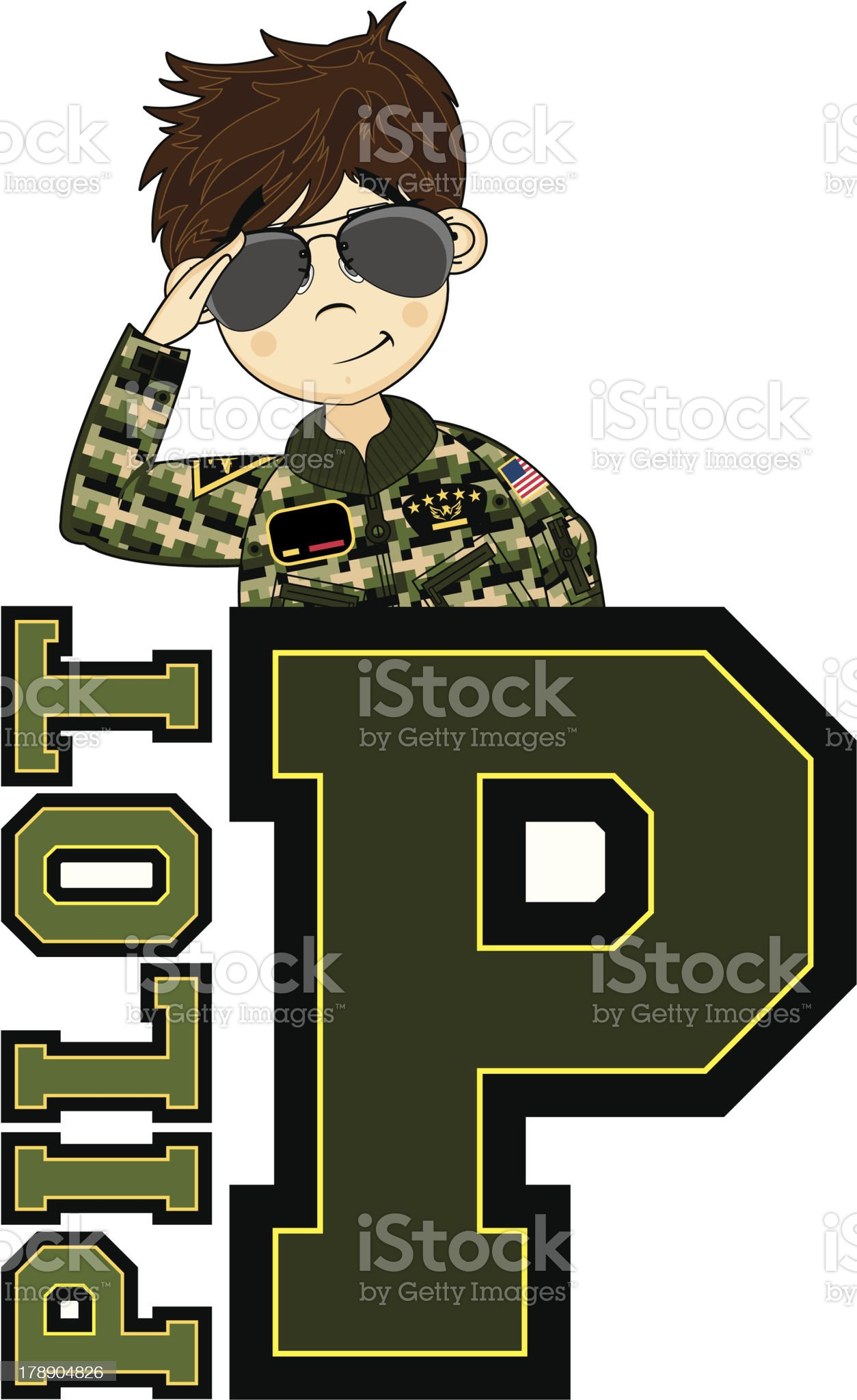 Cute USAF Style Pilot Learning Letter P royalty-free stock vector art