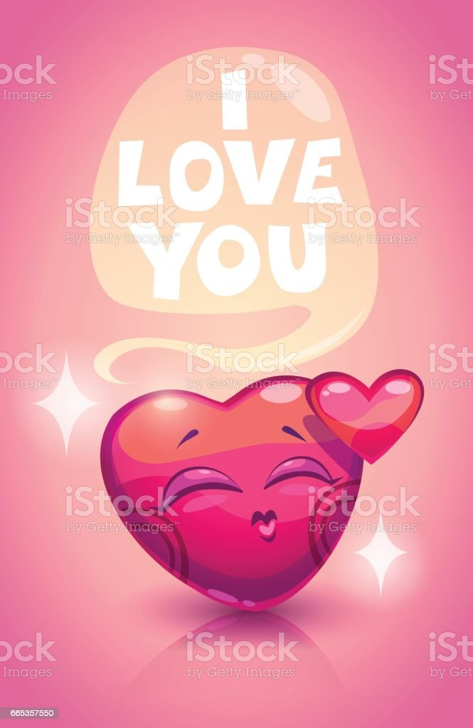 Cute Valentine's Day greeting card vector art illustration
