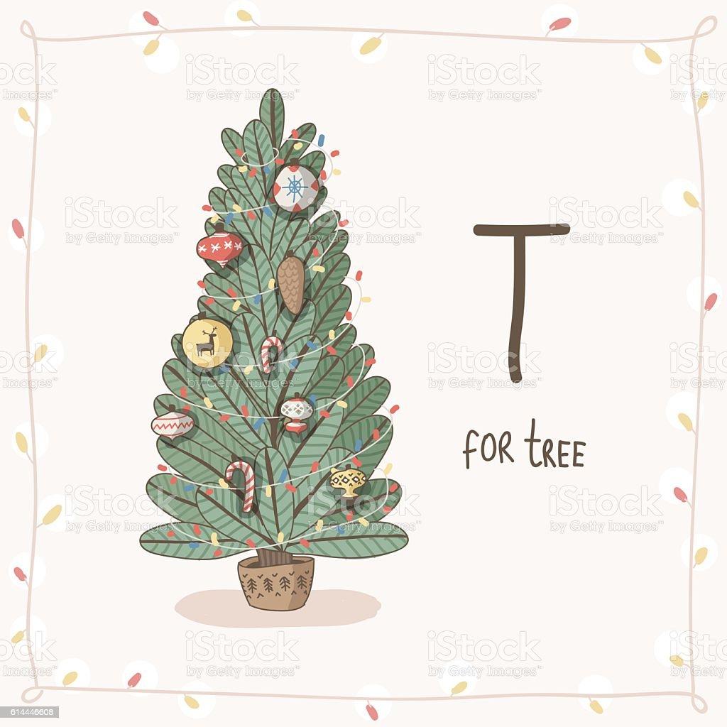 cute vector alphabet christmas letter t tree stock vector art