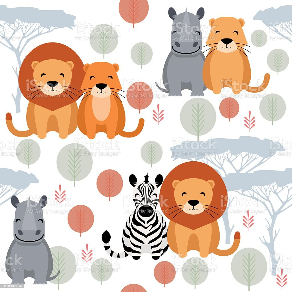 Cute vector animal seamless pattern with lion, rhino, zebra vector art illustration