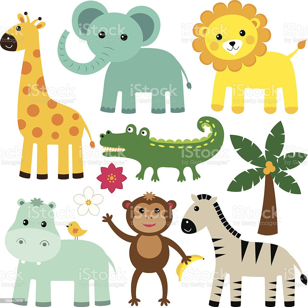 Cute vector animals vector art illustration