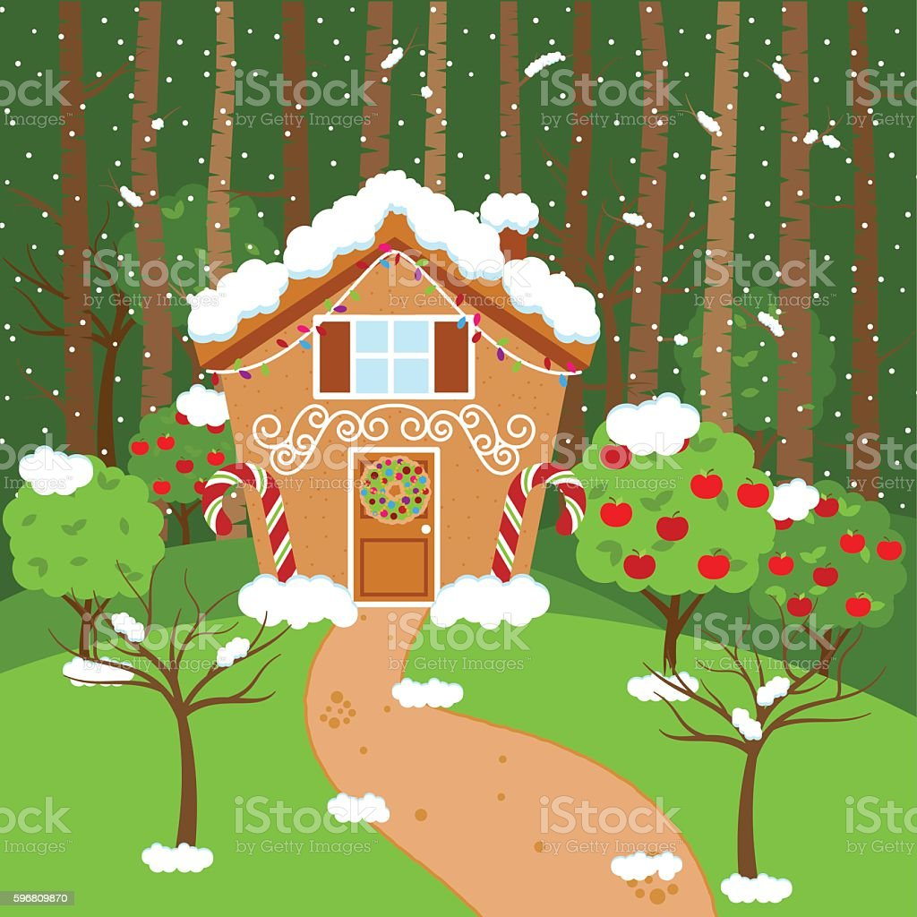 Christmas house with snow art - Cute Vector Background With Holiday Gingerbread House Snow And Forest Royalty Free Stock Vector