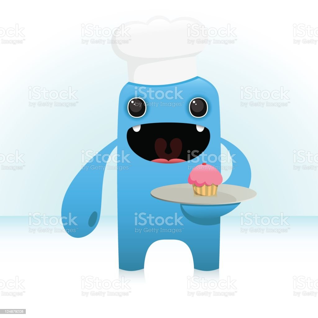 Cute Vector Baker Character With Plate Cupcake vector art illustration