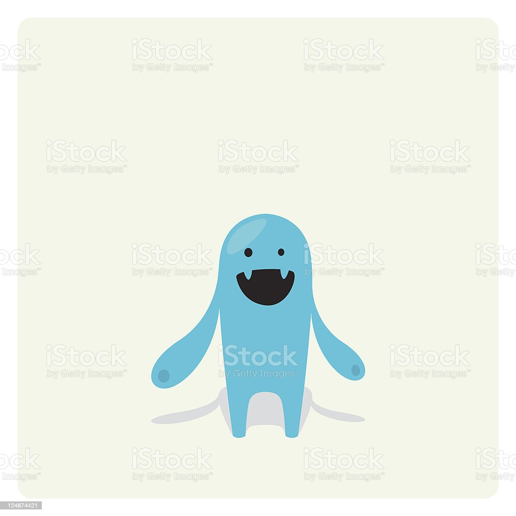 Cute Vector Blue Blob Character Happy and Laughing royalty-free stock vector art