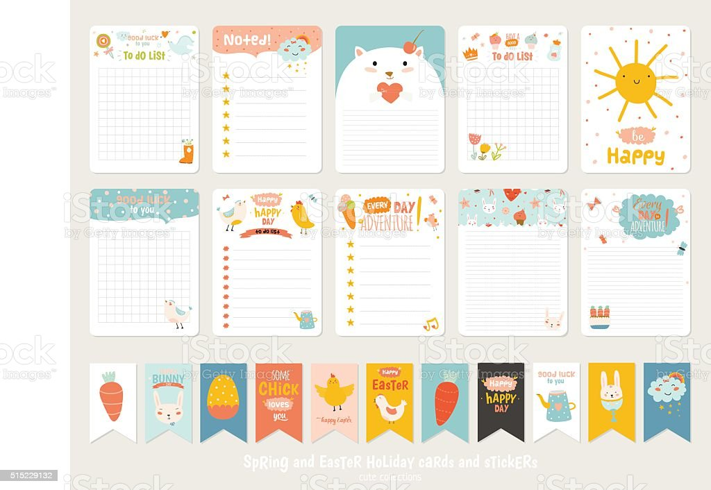 Cute Vector Cards, Notes, Stickers vector art illustration