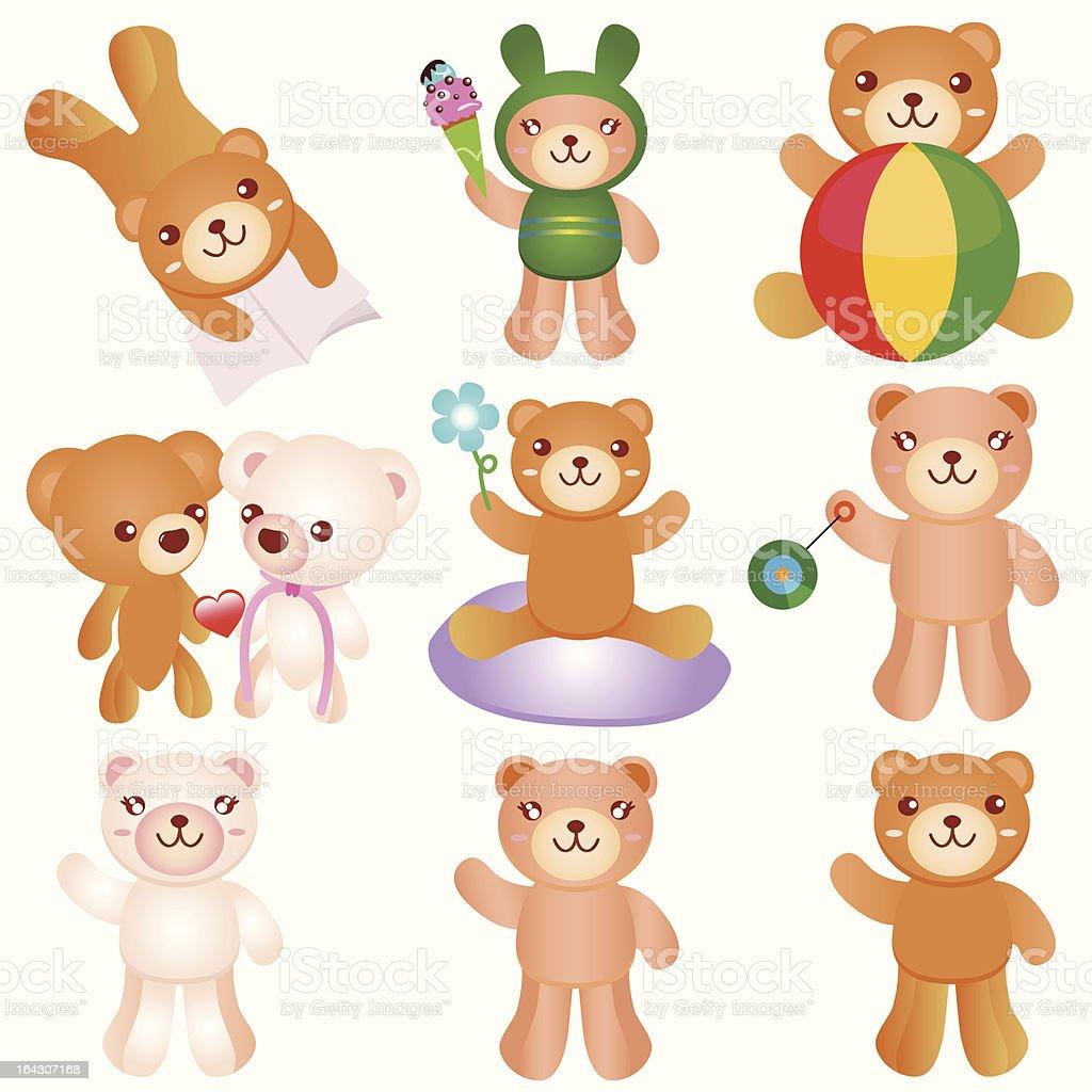Cute vector cartoon : Happy Bears royalty-free stock vector art