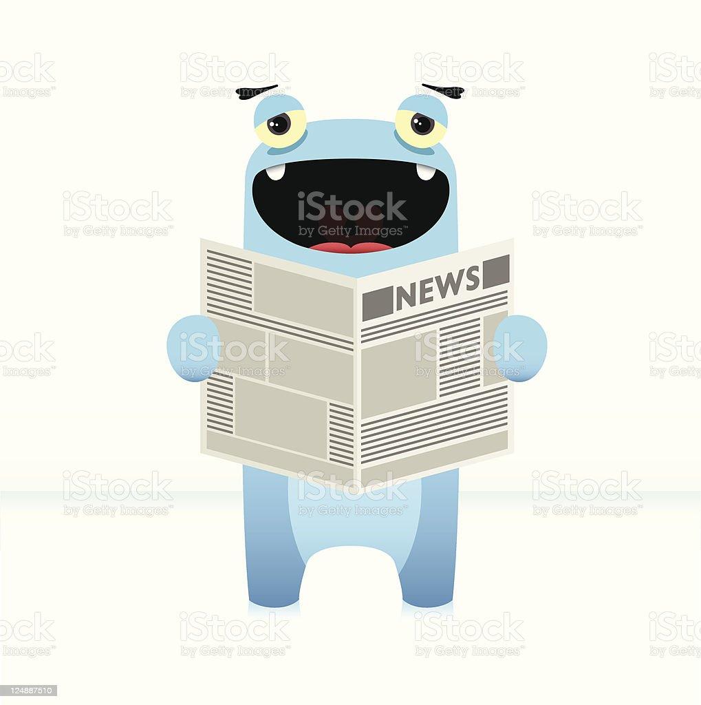 Cute Vector Character Enjoying Newspaper royalty-free stock vector art