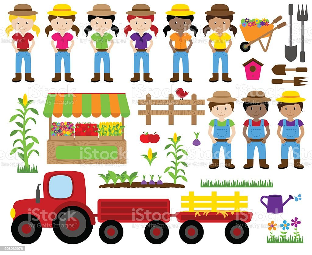 Cute Vector Collection of Farm Related Items and Farmers vector art illustration
