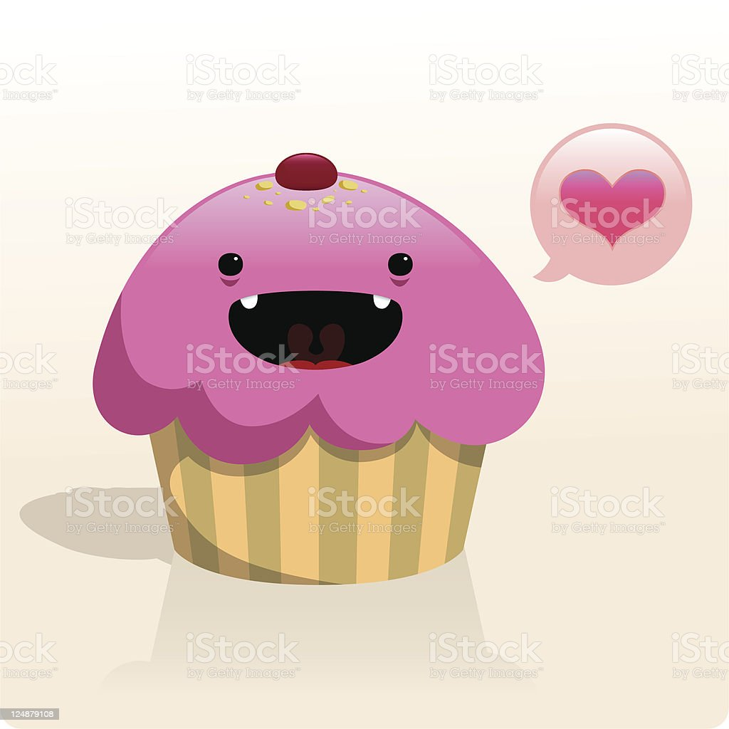 Cute Vector Cupcake Character With Love royalty-free stock vector art