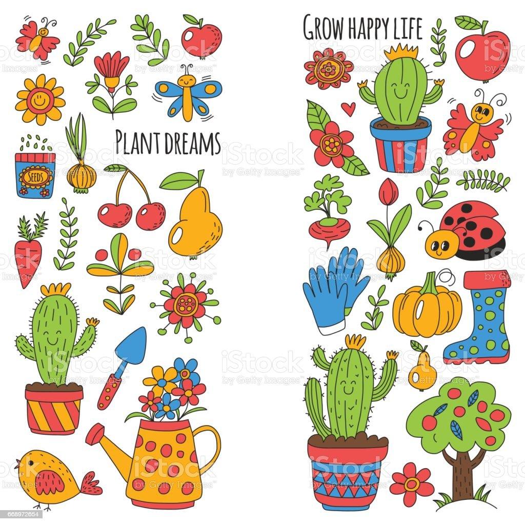Cute vector garden with birds, cactus, plants, fruits, berries, gardening tools, rubberboots Garden market pattern in doodle style vector art illustration