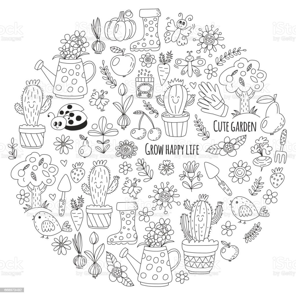 cute vector garden with birds cactus plants fruits berries