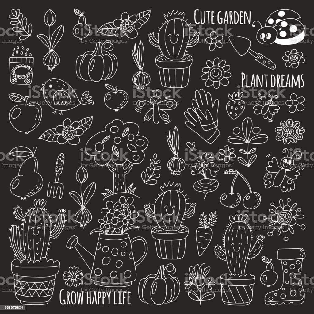 Cute vector garden with birds, cactus, plants, fruits, berries, gardening tools, rubberboots Garden market pattern in doodle style isolated on blackboard vector art illustration