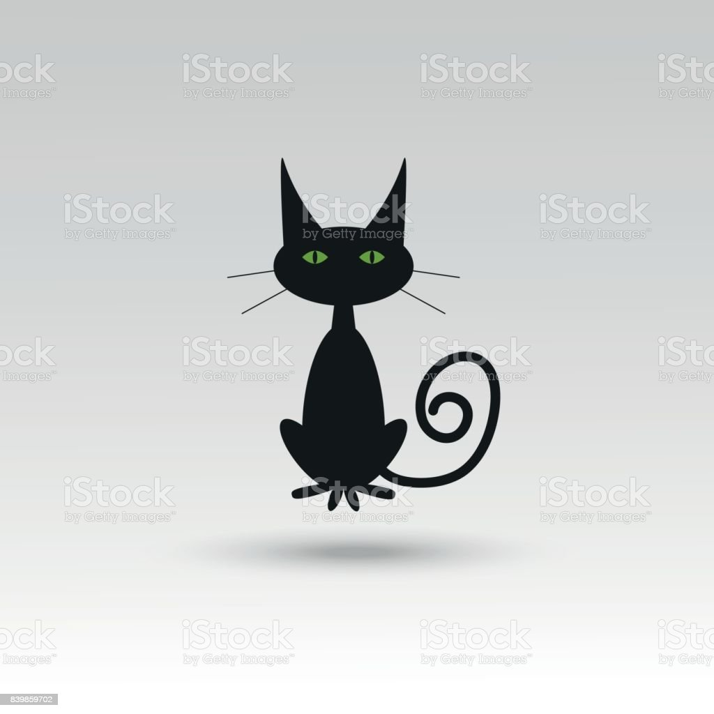 Cute Vector Halloween Cat Icon Element Object Symbols Badge
