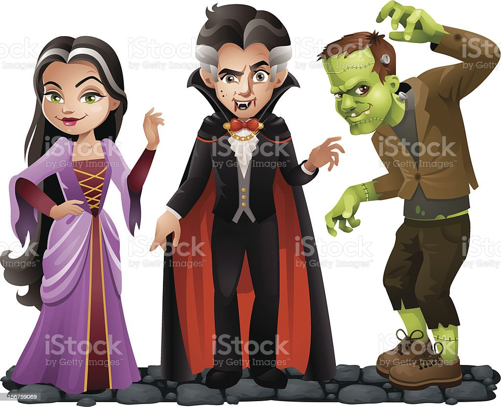 Cute Vector Halloween Characters: Vampire Lady, Dracula and Frankensteins Monster vector art illustration