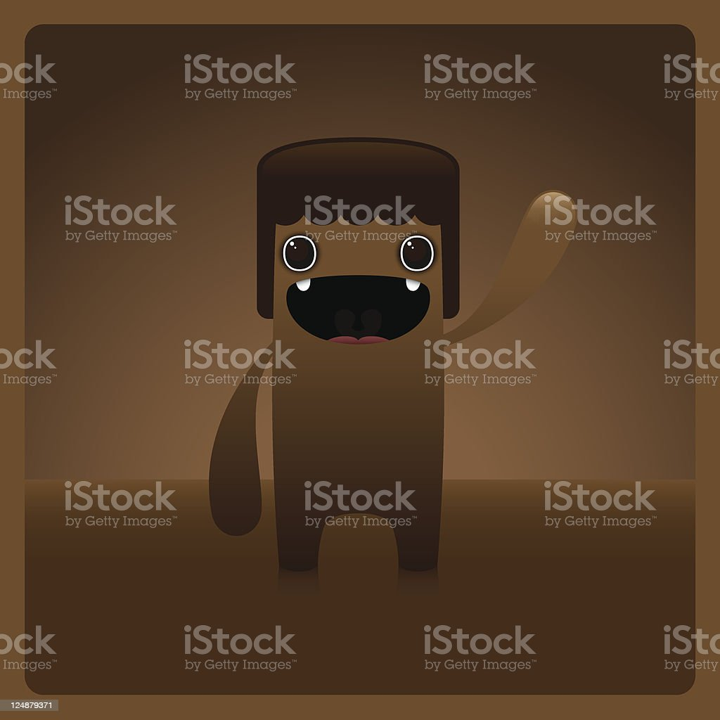 Cute Vector Happy Character Waving in Brown Chocolate royalty-free stock vector art