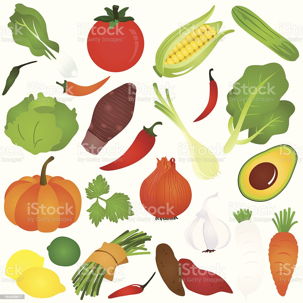 Cute vector Icons :  Design Elements : Fruits, vegetable, food (Set#7) vector art illustration