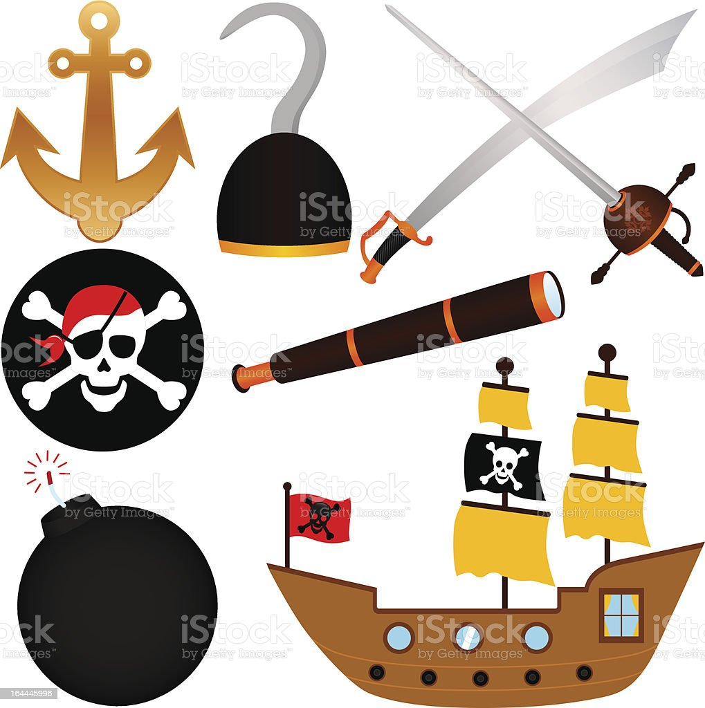 Cute vector Icons theme: Pirate Elements vector art illustration