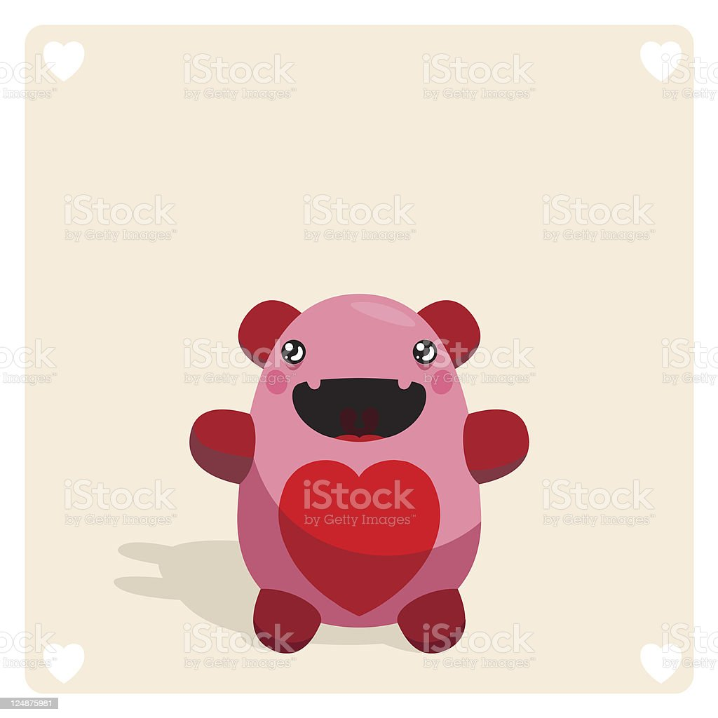 Cute Vector Monster Character With Heart Symbol royalty-free stock vector art