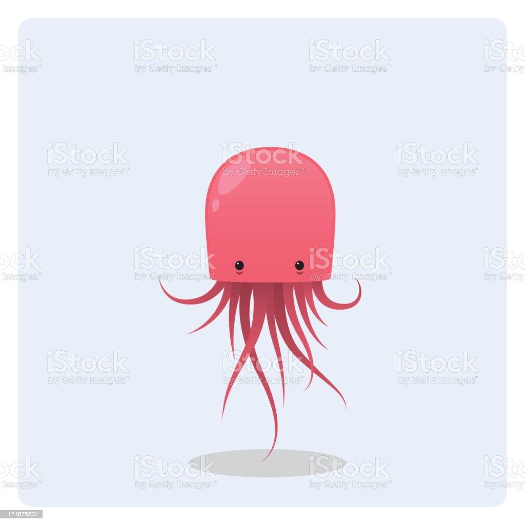 Cute Vector Pink Floating Jellyfish vector art illustration
