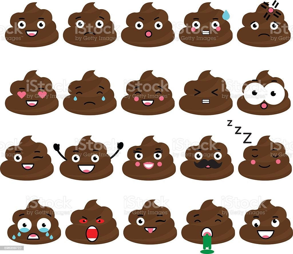 Cute vector poop emoji set. Turd emoticons vector art illustration