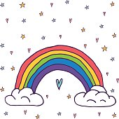 Cute vector rainbow with clouds and heart, kawaii style illustration