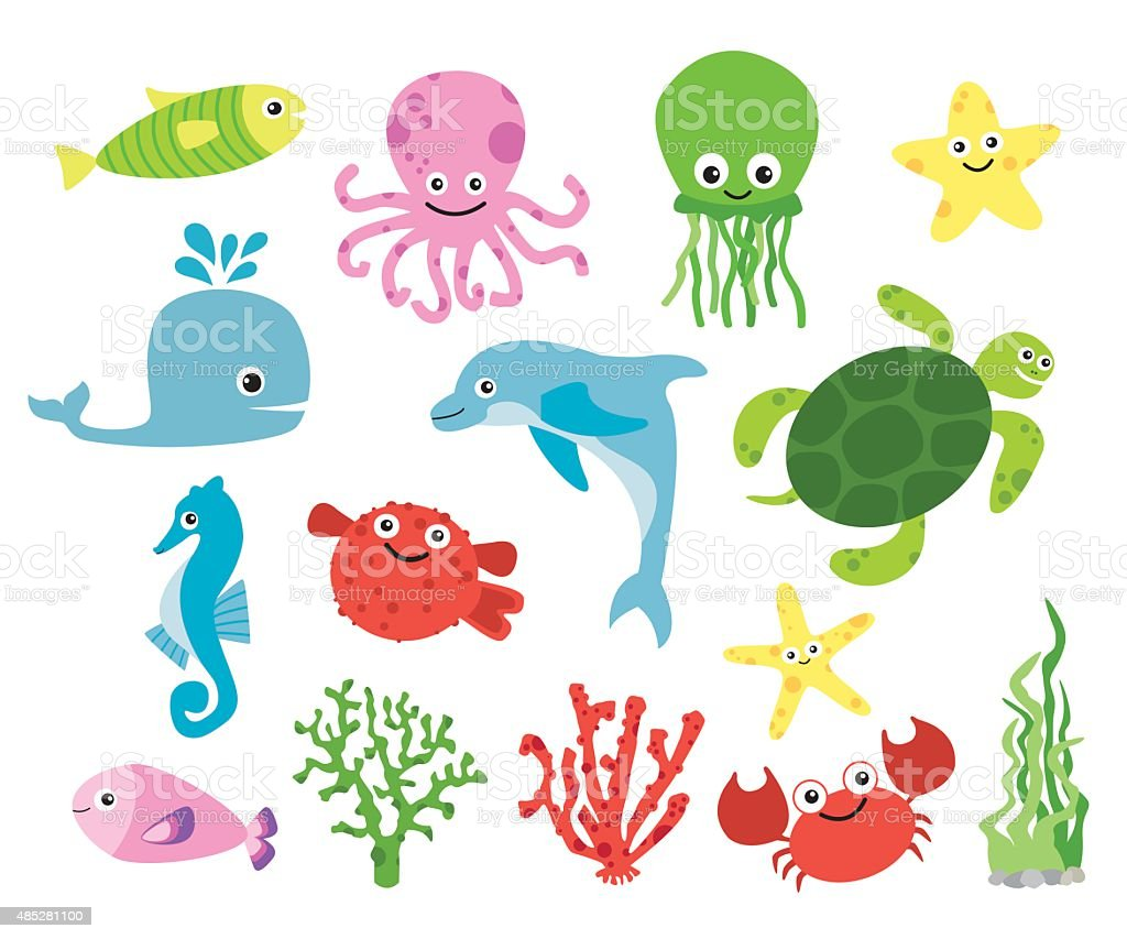 Cute vector sea creatures vector art illustration