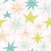 Cute vector seamless pattern with smiley Stars.