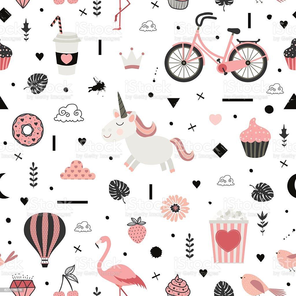 Cute vector seamless pattern with unicorn. vector art illustration