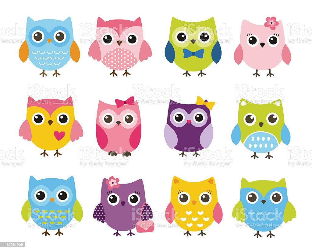 Cute vector set of colorful owls vector art illustration