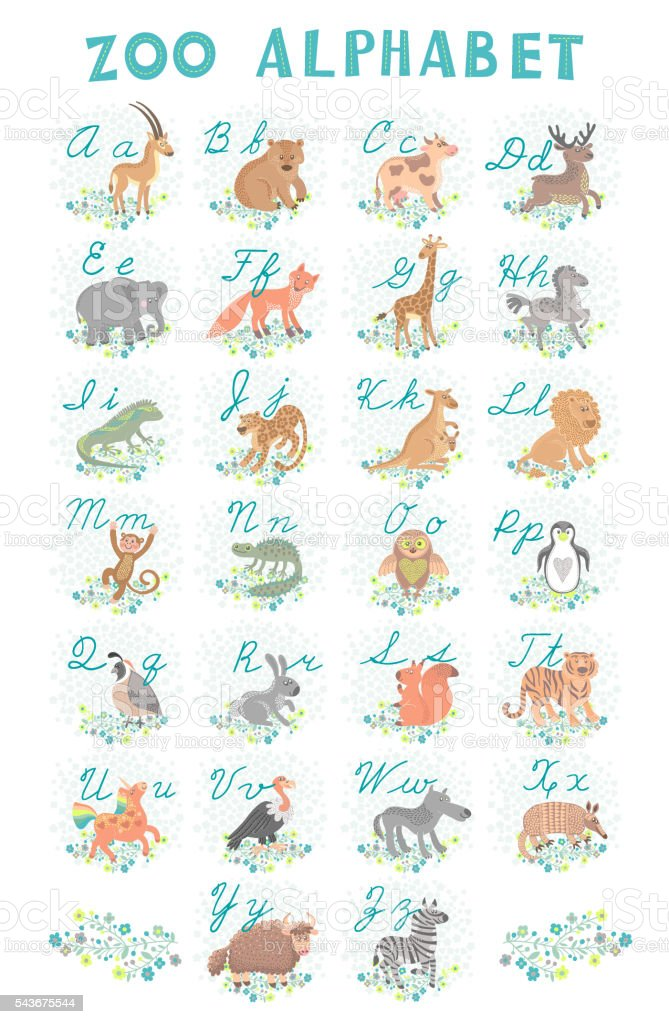 Cute vector zoo alphabet. Funny cartoon animals. Letters. Learn to vector art illustration