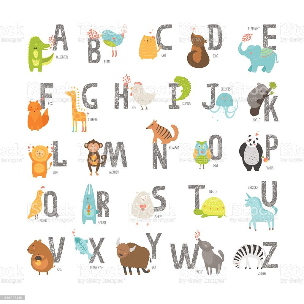 Cute vector zoo alphabet vector art illustration