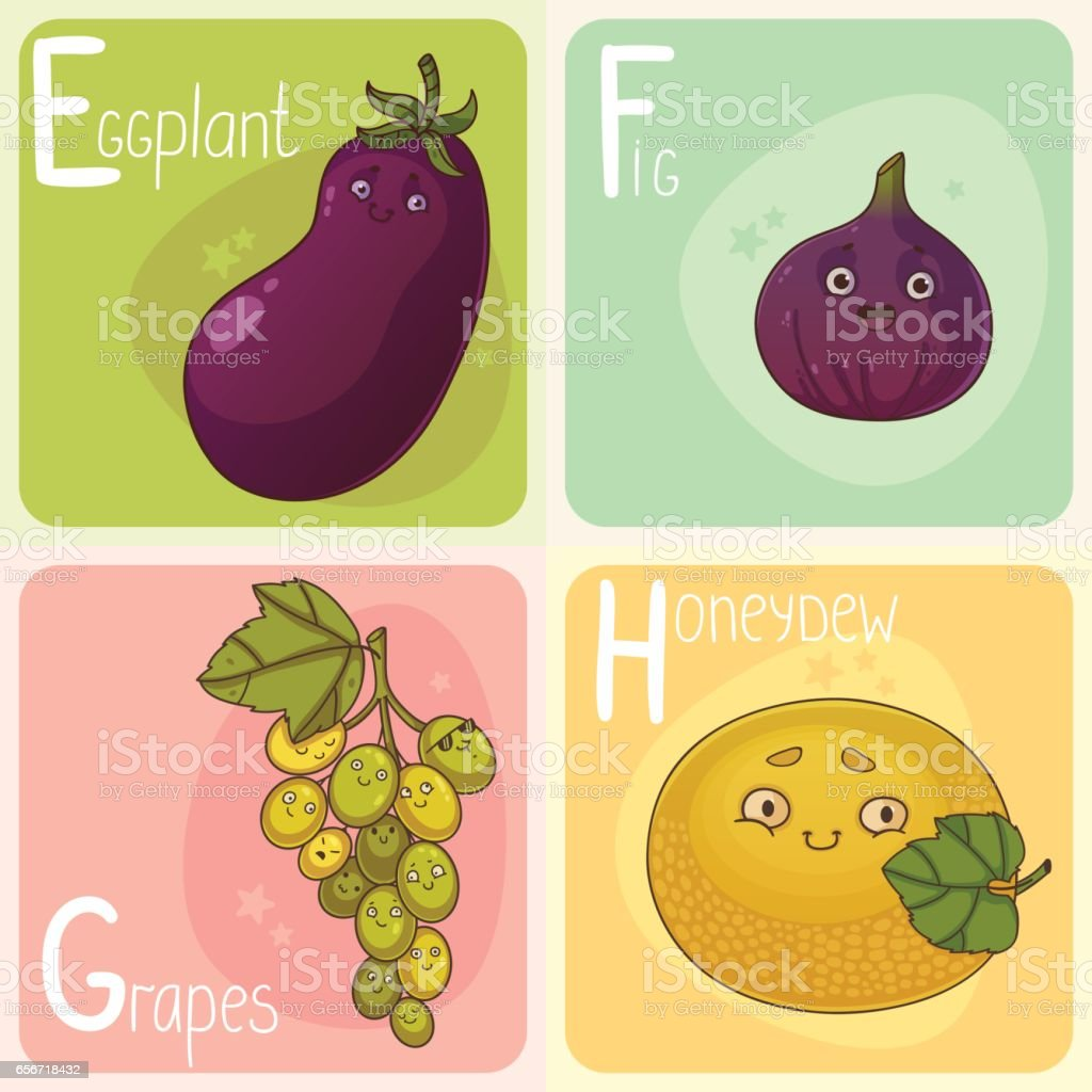 cute vegetable and fruit alphabet letters e f g and h stock vector alphabet alphabetical order eggplant food letter e