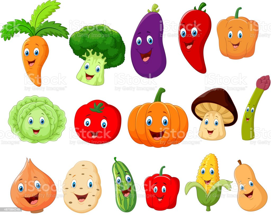Cute vegetable cartoon character vector art illustration