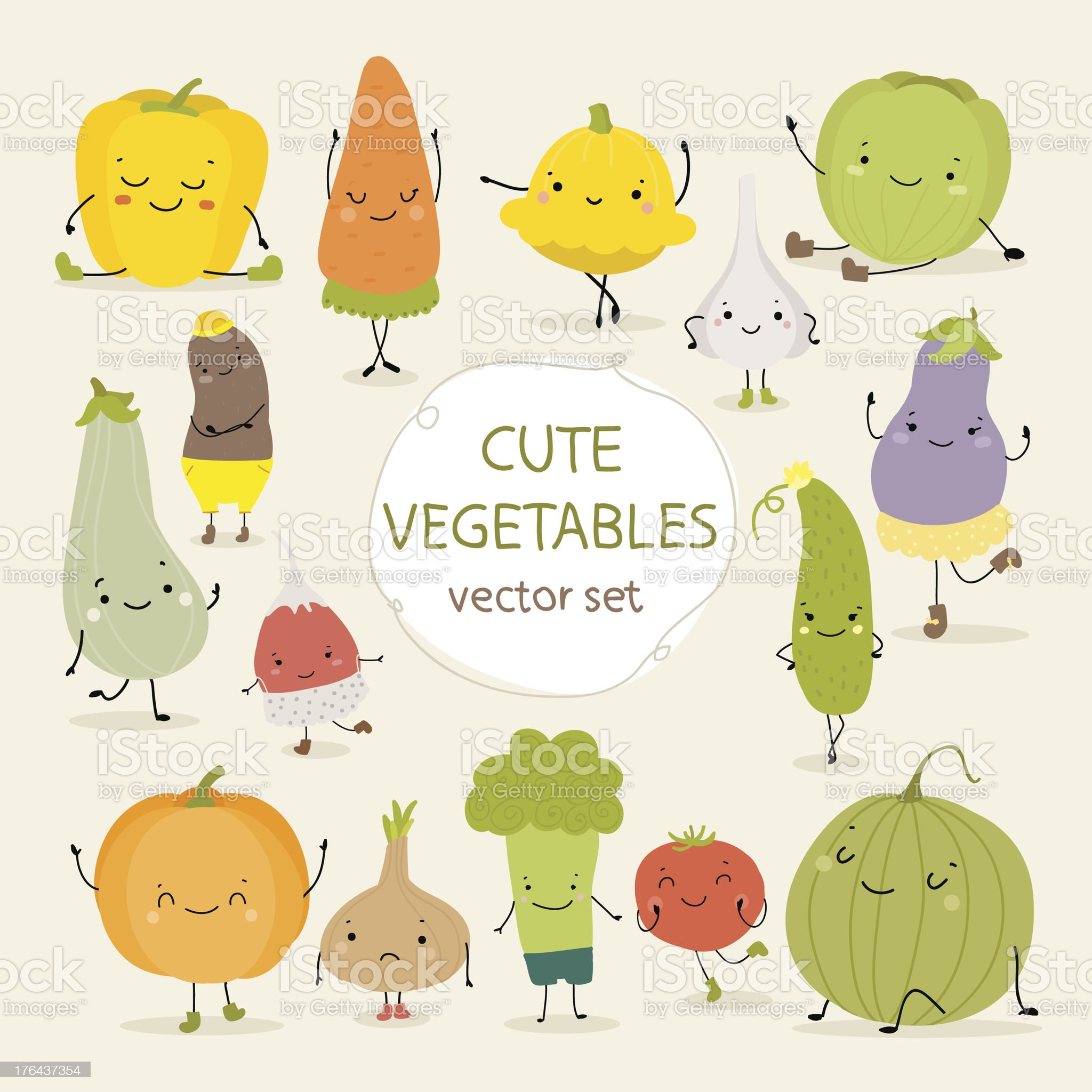 Cute  vegetables royalty-free stock vector art