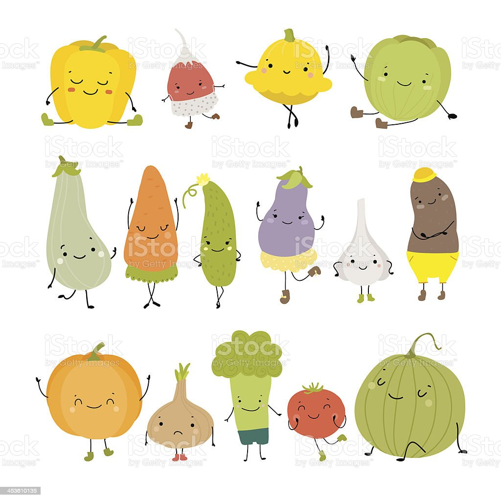 Cute vegetables vector art illustration