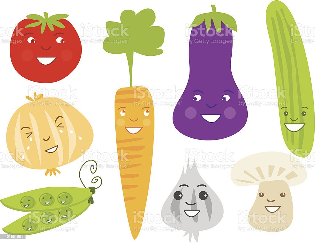 Cute Veggie Characters royalty-free stock vector art