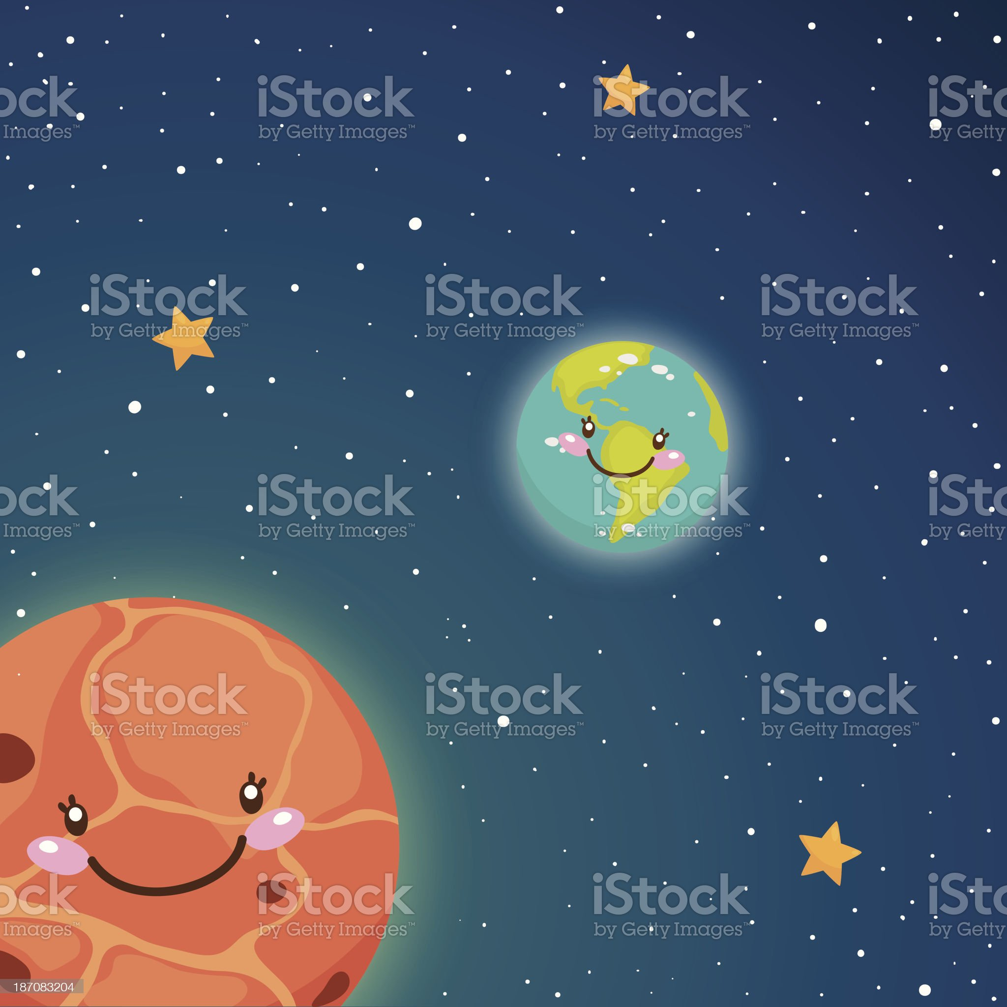 Cute Venus and Earth in space royalty-free stock vector art