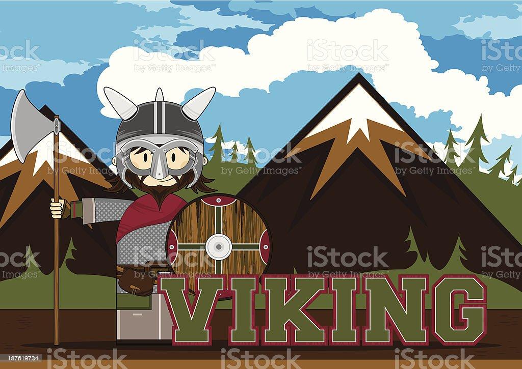 Cute Viking Warrior Learning Illustration royalty-free stock vector art