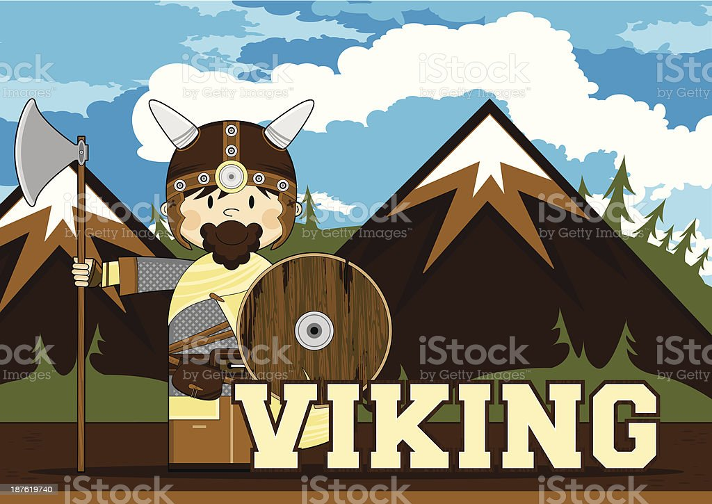 Cute Viking Warrior Learning Illustration royalty-free stock vector art