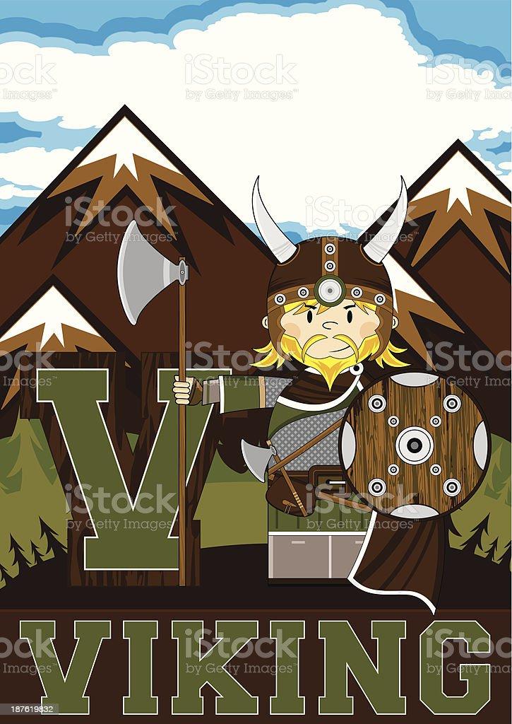 Cute Viking Warrior Learning Letter V royalty-free stock vector art
