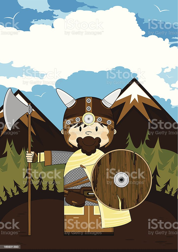 Cute Viking Warrior Scene royalty-free stock vector art