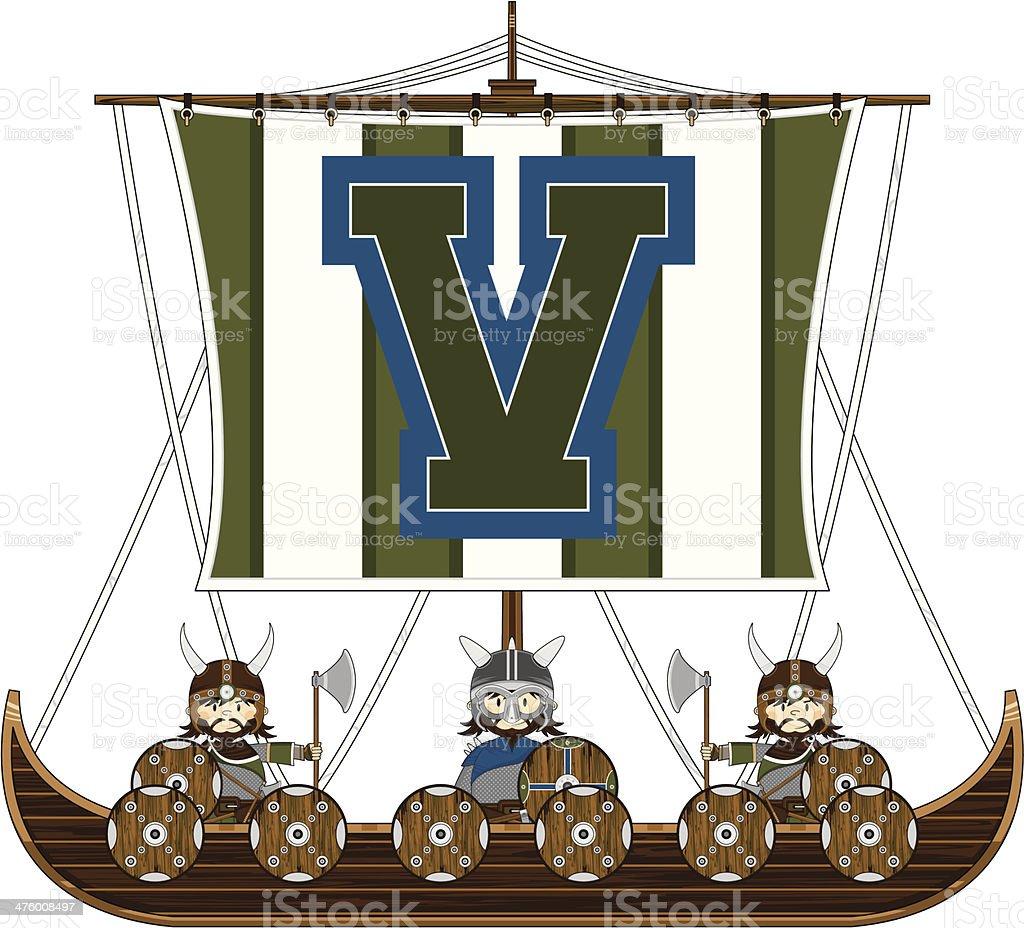 Cute Vikings & Ship Learning Letter V royalty-free stock vector art