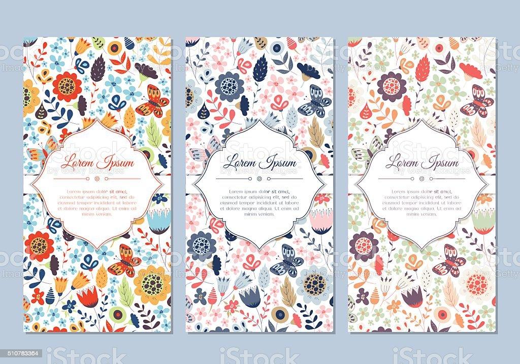 Cute vintage doodle floral cards set vector art illustration