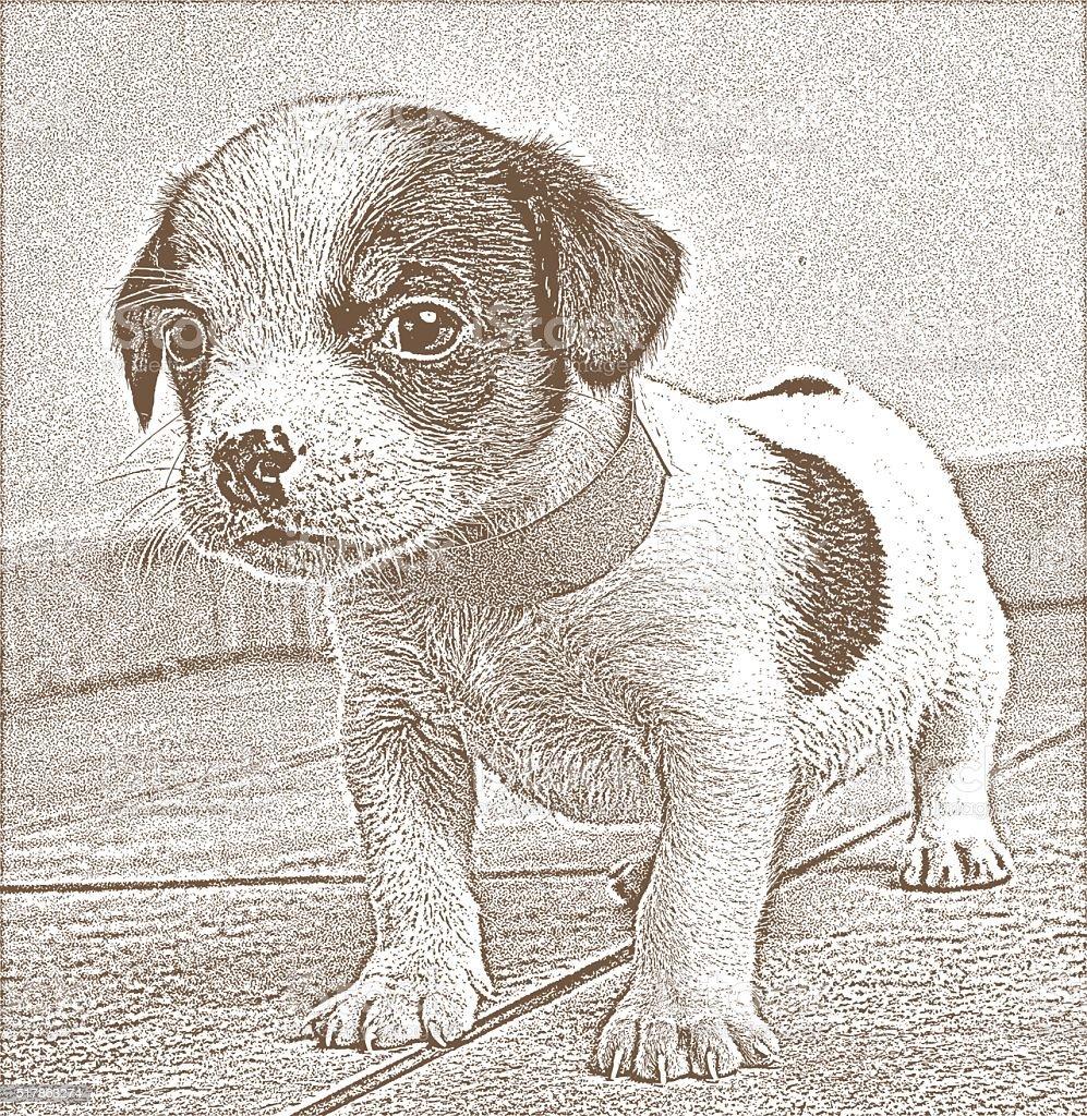 Cute, Vulnerable Puppy vector art illustration