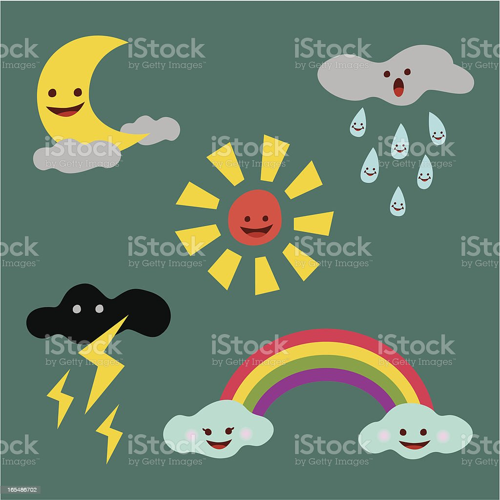cute weather icons royalty-free stock vector art