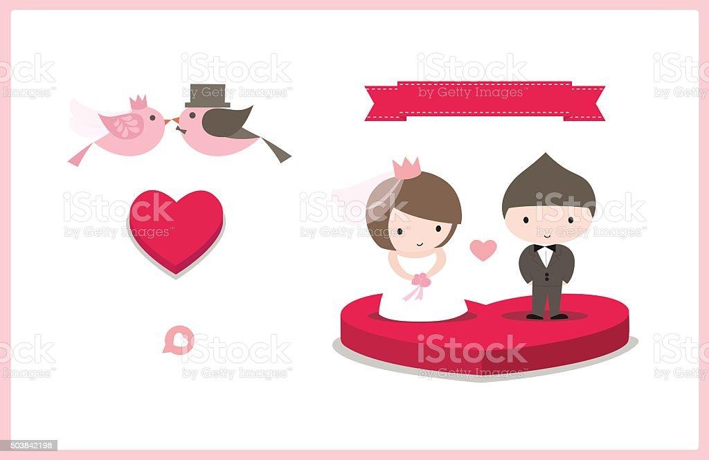 Cute Wedding Card Element vector art illustration